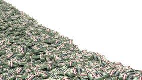 Pilha de dinheiro grande dólares sobre o fundo branco Foto de Stock Royalty Free