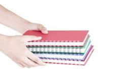Pilha de disponivel colorido dos cadernos Foto de Stock Royalty Free