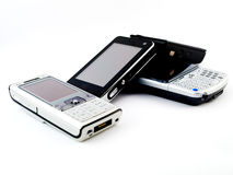 Pilha de diversos telefones móveis modernos foto de stock royalty free