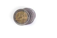 Pilha de dois euro fotografia de stock