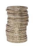 Pilha de duas euro- moedas Fotos de Stock
