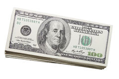 Pilha de E.U. cem moedas de contas do dólar Fotos de Stock