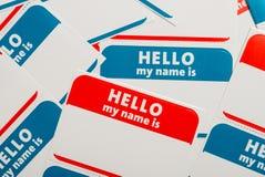 Pilha de etiquetas ou de emblemas do nome Foto de Stock Royalty Free