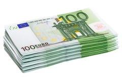 Pilha de 100 euro- cédulas Fotos de Stock Royalty Free