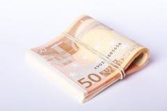 pilha de 50 euro- cédulas envolvida e rolada Fotos de Stock