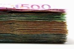 Pilha de euro- cédulas usadas Fotografia de Stock