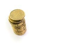 Pilha de 20 euro- centavos Fotografia de Stock Royalty Free