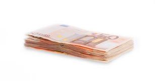 Pilha de 50 euro- contas, foco seletivo Fotos de Stock Royalty Free