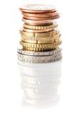 Pilha de euro e de euro- centavos Fotos de Stock Royalty Free