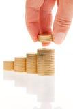 Pilha de euro- moedas Fotografia de Stock Royalty Free