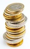 Pilha de euro- moedas Fotografia de Stock