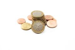 Pilha de euro- moedas Fotos de Stock