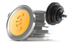 Pilha de euro- moedas com barbell Imagem de Stock Royalty Free