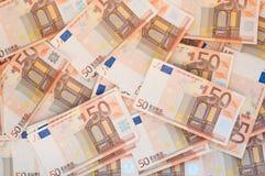 Pilha de 50 euro- notas Foto de Stock