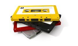 Pilha de fita da cassete áudio fotos de stock