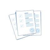 Pilha de folhas do papel do formulário da avaliação ou do exame com lista de verificação e sucesso respondidos do questionário ilustração royalty free