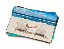 Pilha de fotos das férias isoladas fotos de stock royalty free
