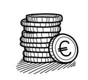 Pilha de garatuja das moedas (Euro) Imagens de Stock Royalty Free