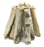 Pilha de lenha isolada no fundo branco Imagens de Stock