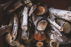 Pilha de lenha, textura de madeira Fotografia de Stock Royalty Free