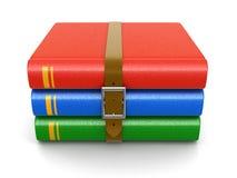 Pilha de livro com correia (trajeto de grampeamento incluído) Fotografia de Stock