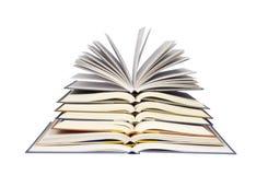 Pilha de livros abertos imagens de stock