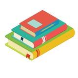 Pilha de livros com marcador, três livros, projeto liso Imagens de Stock