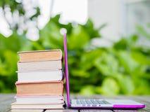 Pilha de livros com portátil Imagem de Stock