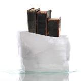 A pilha de livros de oração muito velhos capturou no gelo Foto de Stock