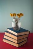 Pilha de livros e de flores Imagens de Stock Royalty Free