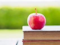 Pilha de livros e de maçã vermelha Fotos de Stock