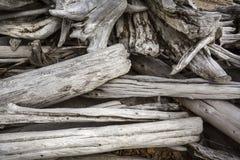 Pilha de logs descorados da madeira lançada à costa no lago flagstaff, Maine foto de stock royalty free