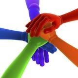 Pilha de mãos coloridas Imagem de Stock