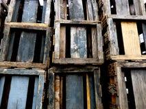 Pilha de madeira da caixa Fotografia de Stock