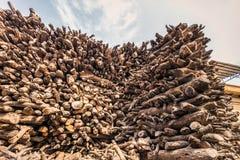 Pilha de madeira Varanasi foto de stock