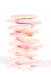 Pilha de marshmallow cor-de-rosa e amarelo Imagem de Stock Royalty Free