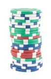 Pilha de microplaquetas de póquer diferentes Imagens de Stock