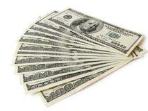 Pilha de moeda de $ 100 Imagem de Stock