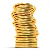 Pilha de moeda de ouro Fotografia de Stock Royalty Free