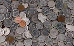 Pilha de moedas americanas Foto de Stock