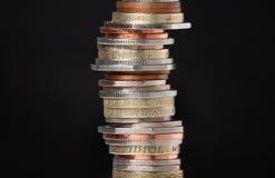 Pilha de moedas britânicas Fotografia de Stock