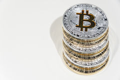 Pilha de moedas de BTC Bitcoin Fotos de Stock