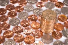 Pilha de moedas de um centavo Fotografia de Stock