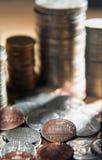 Pilha de moedas de um centavo. Fotos de Stock