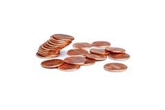 Pilha de moedas de um centavo de queda Imagem de Stock Royalty Free