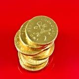 Pilha de moedas de um centavo inglesas Fotografia de Stock