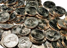 Pilha de moedas de um dólar Imagens de Stock