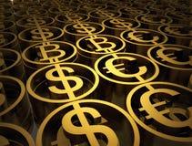 A pilha de moedas diferentes contém do bitcoin, do dólar e do euro Sinais financeiros do sucesso A alta qualidade 3d rende ilustração royalty free