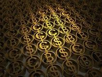 A pilha de moedas diferentes contém do bitcoin, do dólar e do euro Sinais financeiros do sucesso A alta qualidade 3d rende ilustração stock