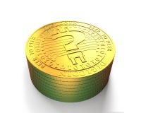 Pilha de moedas digitais douradas com ponto de interrogação, illustratio 3D Fotografia de Stock